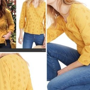 Madewell Scalloped Eyelet Wrap Top With Tie MP